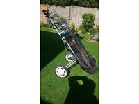 Golf clubs with bag & trolley.