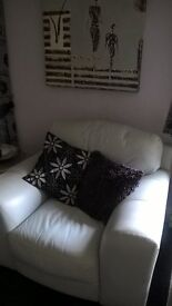 very high quality leather 2 sofas 1 chair silver grey
