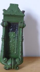 Architectural Salvage: Original Victorian cast-iron KENRICK door knocker and letterbox, No 440.