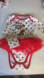 Minnie mouse baby vest with long sleeves and tutu 18-24 months