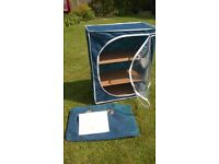 Get ready for summer camping with a 3 shelf portable cupboard that is flat when dismantled