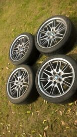 bmw mv1 Alloys bmw e36 fitment and pcd Alloys 18' three good tyres one needs relacing