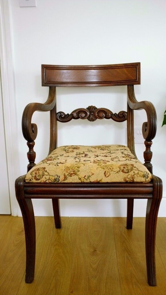 Antique Oak Occasional Chair - With Floral Upholstery