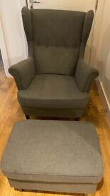 IKEA Strandmon - Wing Chair and Footstool - Nordvalla dark grey - RRP£255