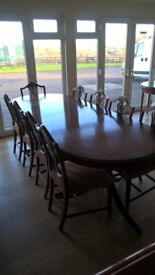 Large Dining table & 10 chairs For sale !!