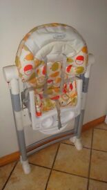 Graco high chair. 8 positions between height and reclining