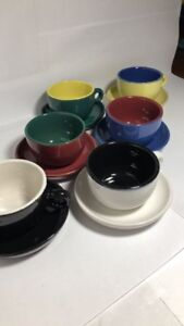 Espresso Set Of 6 Cups and Saucers Dual Colours