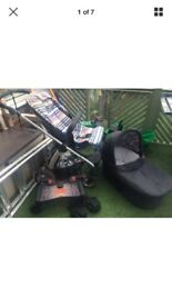 Mamas and Papas carrycot/ pram, pushchair and accessories.