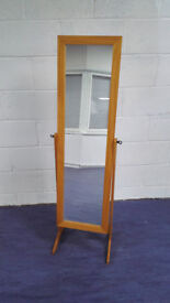 Freestanding dressing mirror with wooden frame