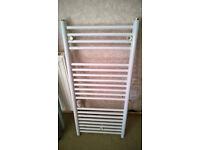 White heated towel rail