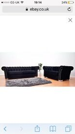 Black Diamonte Chesterfield 3+2 seater for sale