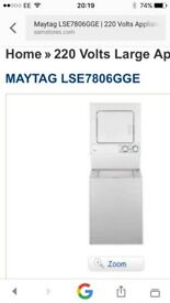 Maytag washer/dryer machine. Model number LSE7806GGE.