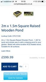 Raised pond 1.5 m x 2 m 1300 litre