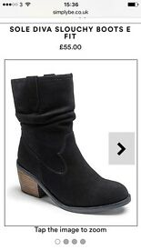 NEW Women's black suede slouch boots