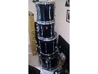 Premier APK Power Rock Drum Kit Shell Pack in Black - with stands & snare