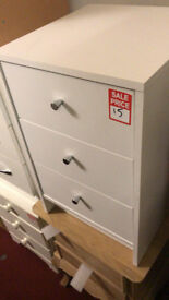 3 drawer bedside chest white with chrome handles