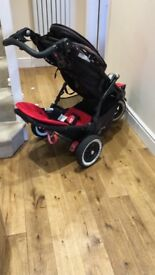 Phil & Teds Dot Pushchair with double seat, rain cover and shadow cover, Chilli