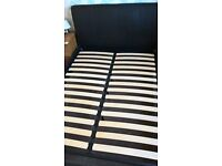 BARGAIN! Double Bed - lovely very dark brown faux-leather grain-effect
