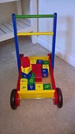 Wooden Baby Walker with Building Blocks
