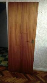 Sapele doors x 2 with brass handles and fittings