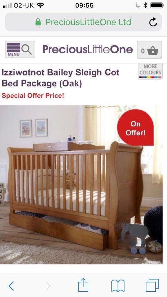 Beautiful izziwotnot Bailey sleigh Oak cot bed