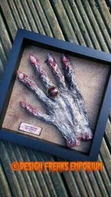 Vampire Hand Box Frame Curiosity Macabre Weird Unusual Horror OOAK