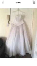 White wedding dress, size 12-14, Swarovski crystal, heart neckline