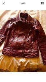 ASOS maroon leather jacket