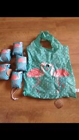 BNWT SASS and BELLE foldable, reusable shopping bags flamingo, cat or Scottie dog