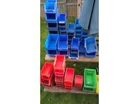 60 x various size storage bins