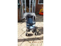Mamas & Papas two tone blue Buggy with waterproofs and storage