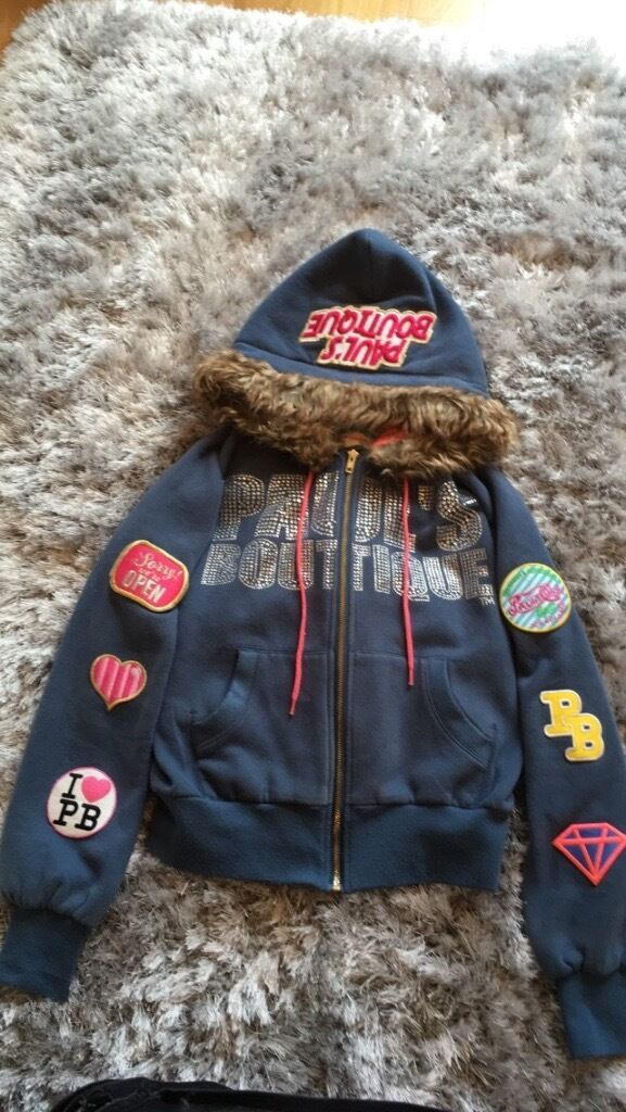Blue Paul's Boutique jacket/ faux fur hood