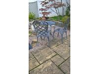 cast aluminium garden table and 2 chairs