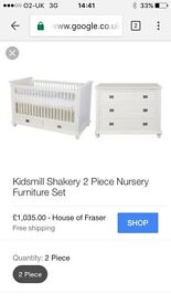 Beautiful Kidsmill Shakery Cot Bed / Crib & Chest of Drawers - High Quality & Grows with Child