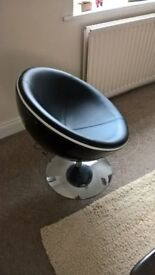 Retro Leather Egg Chair, Swivel Chair, Pod Chair