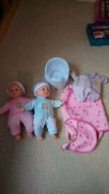Twin babies and accessories