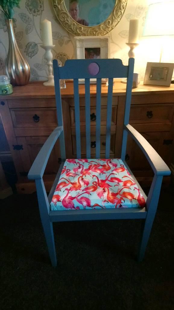Stunning vintage solid oak large statement chair