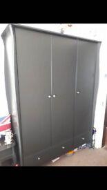 Black solid wood wardrobe