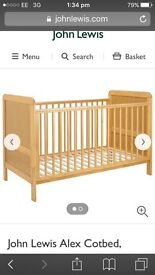 Cot bed by John Lewis with free mattress