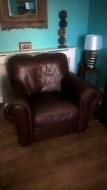 Brown leather corner sofa and chair