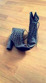 Grey heeled shoes
