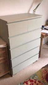 Painted IKEA Malm chest of 6 drawers