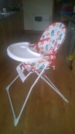 Baby's Highchair, folds flat, good clean condition