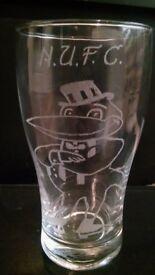N.U.F.C. HAND ENGRAVED 1 PINET GLASS