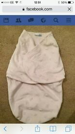 vitaminsbaby cream with star pattern fleecy swaddle blanket snuggle bag