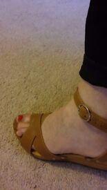 Roberto Vianni Tan Leather Wedge Sandals