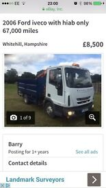 2006 FORD IVECO TIPPER with HIAB No vat ONLY 67000 miles