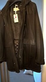 womens nappa leather warm lined coat, never worn. Size 18, fits more like a 16.