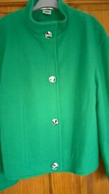 Jade Green Cashmere/Wool Blend Jacket Size 14 Excellent Quality & Condition