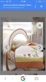 Mamas and papas jamboree Moses basket and bath.